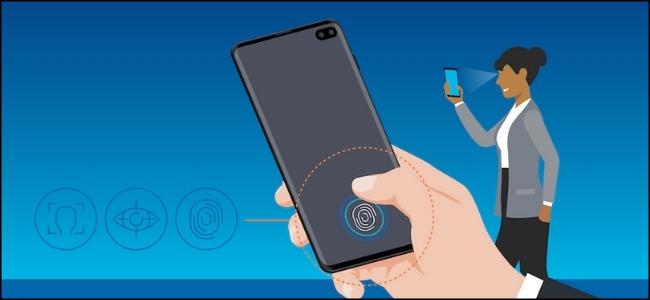 Un dessin d'une femme utilisant la reconnaissance biométrique Samsung à l'arrière d'un smartphone.