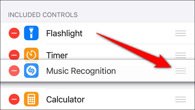 Appuyez et maintenez sur la poignée pour réorganiser l'emplacement du bouton Shazam dans le centre de contrôle