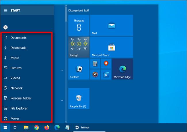 Die im Windows 10-Startmenü entwickelte Seitenleiste für Verknüpfungen