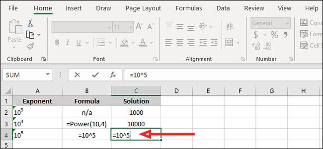 Stecken Sie Ihre Basisnummer und Ihren Exponenten in die Formel