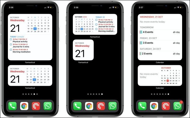 Widgets fantastiques et de calendrier sur trois iPhones.