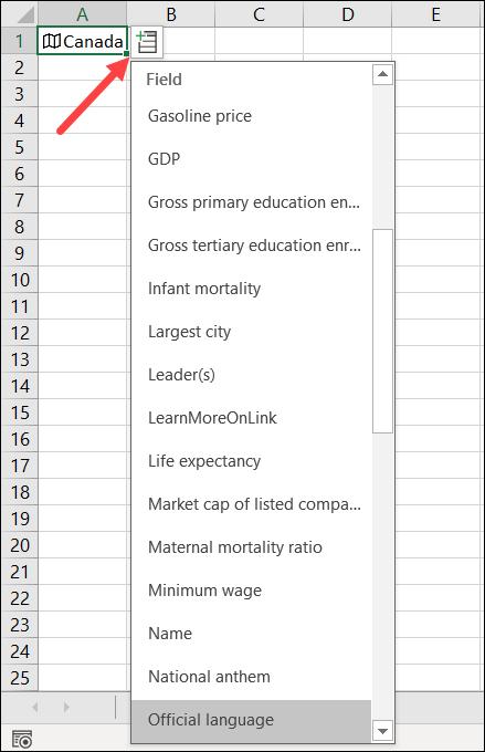Le menu Insérer des données pour «Canada».