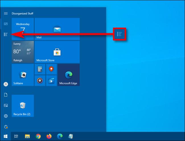 Klicken Sie im Windows 10-Startmenü auf die Schaltfläche Apps-Liste.
