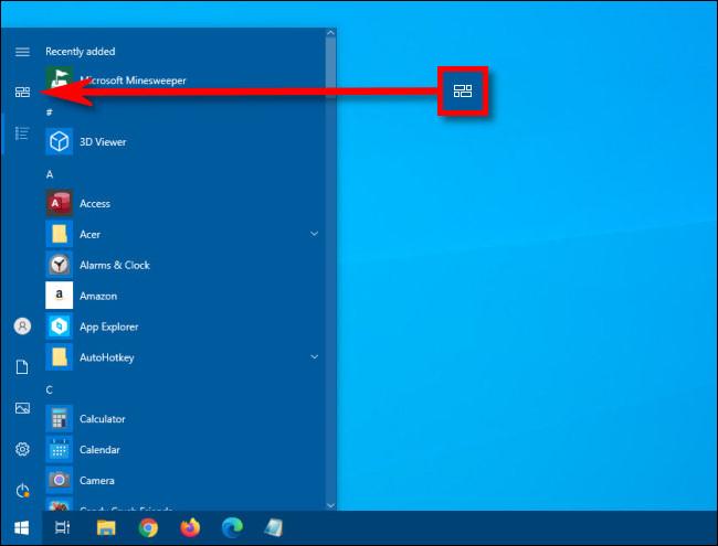 Klicken Sie im Windows 10-Startmenü auf die Schaltfläche Fixierte Kacheln