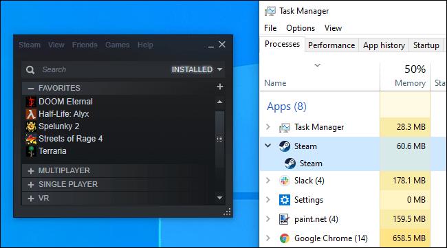 Steam utilisant très peu de RAM en mode sans navigateur.