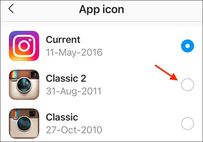 Choisissez une nouvelle icône Instagram