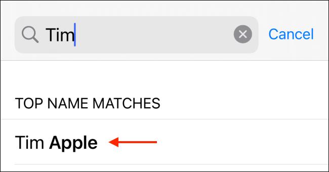 Wählen Sie einen Kontakt aus den Suchergebnissen aus