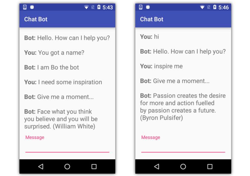 Le chatbot Android en cours d'exécution