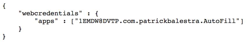 Contenu du fichier JSON d'association de site