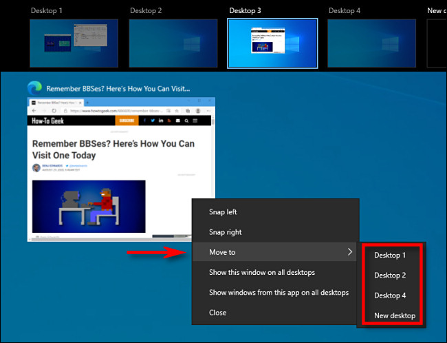 Klicken Sie in der Aufgabenansicht unter Windows 10 mit der rechten Maustaste auf eine Fensterkachel und wählen Sie