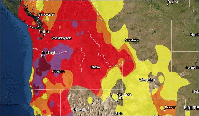 Eine AirNow-Karte mit schlechter Luftqualität an der Westküste aufgrund von Waldbrandrauch.
