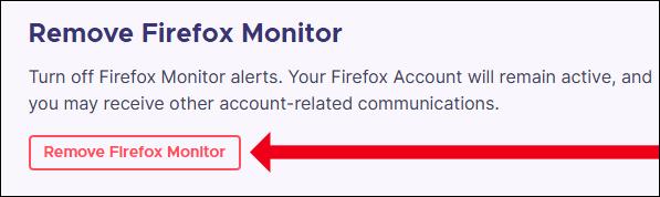 """Cliquez sur """"Supprimer Firefox Monitor"""""""