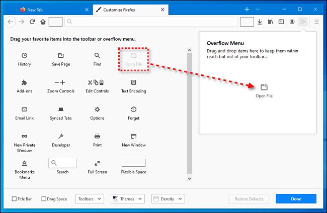 Dans Firefox, cliquez et faites glisser tous les éléments de la barre d