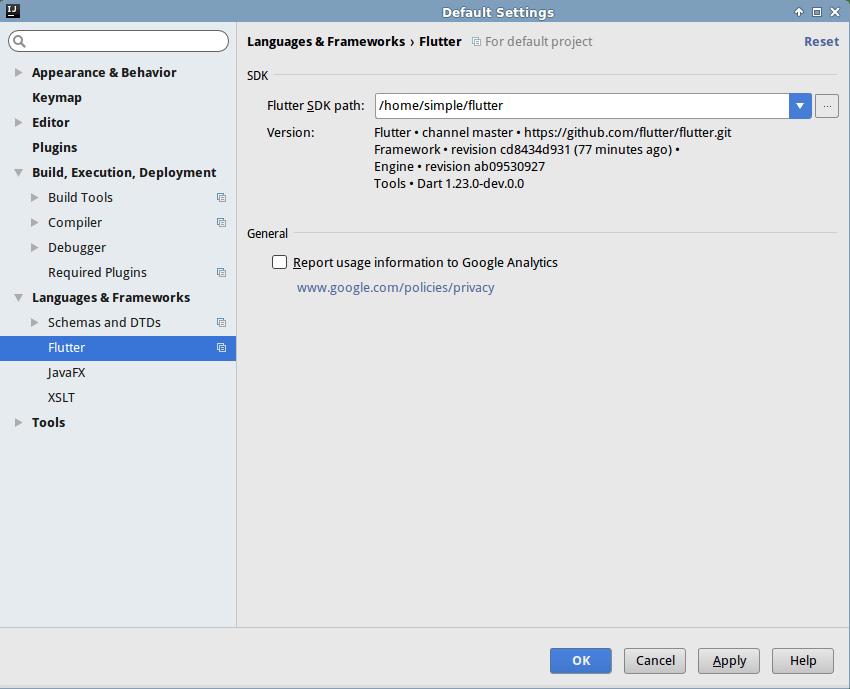 Boîte de dialogue de configuration du plugin Flutter