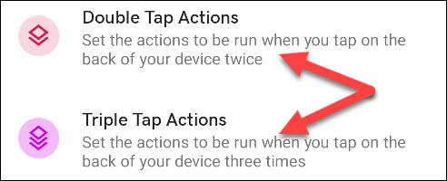"""Sélectionnez """"Double Tap Actions"""" ou """"Triple Tap Actons""""."""