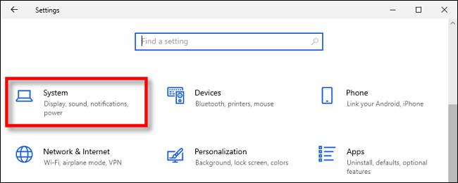 Dans les paramètres de Windows 10, cliquez sur «Système».