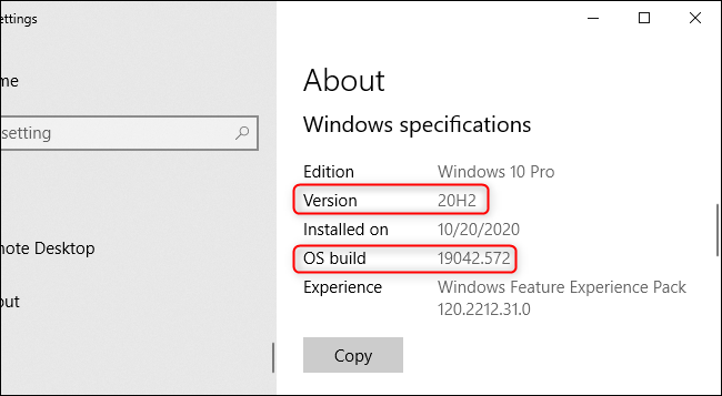 Le numéro de version de Windows dans l'application Paramètres