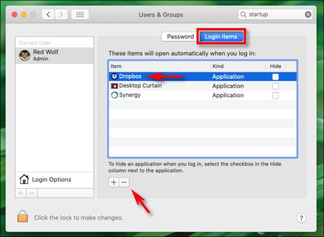 Dans «Éléments de connexion», sélectionnez «Dropbox» dans la liste et cliquez sur le bouton «moins» sur Mac.