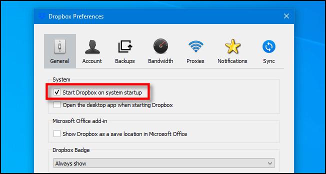 Décochez «Démarrer Dropbox au démarrage du système» sous Windows 10.