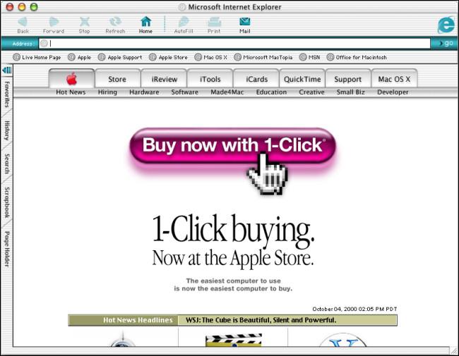 """Une fenêtre """"Microsoft Internet Explorer"""" sur Mac OS X Public Beta."""