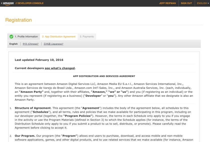 Amazon Appstore - Contrat de distribution d'applications