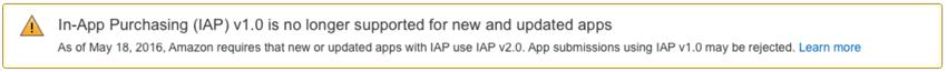 Amazon Appstore - Mise à niveau requise vers IAP v20