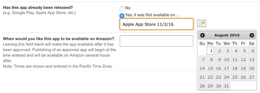Amazon Appstore - Où était-il disponible pour la première fois et date de lancement de votre application