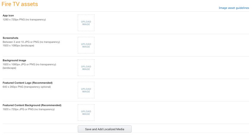 Amazon Appstore - Formulaire Images Multimédia pour Fire TV