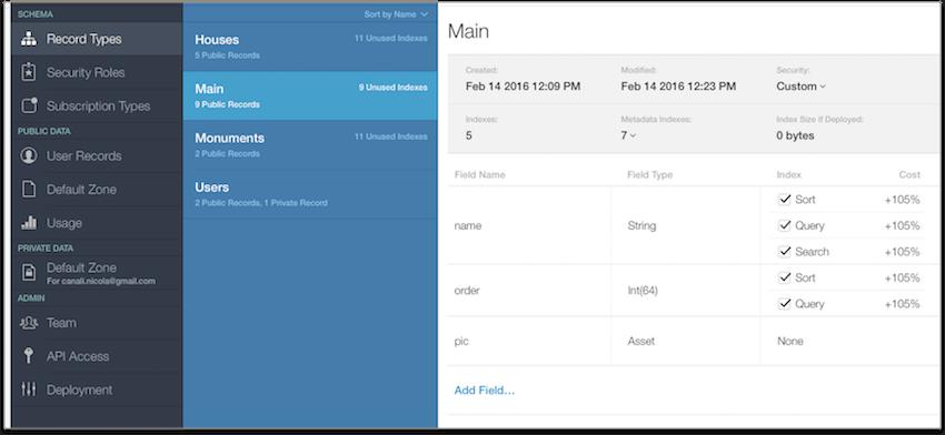 Table principale appyMaps dans CloudKit