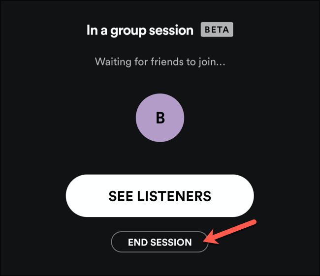 Appuyez sur Fin de session pour mettre fin à une session de groupe Spotify.