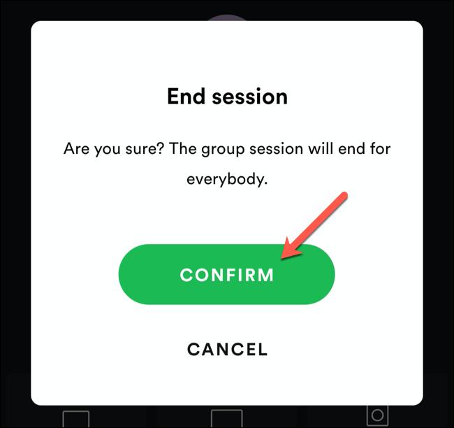 Appuyez sur Confirmer pour confirmer la fin d'une session de groupe Spotify.