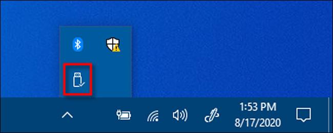 Cliquez avec le bouton droit sur l'icône Retirer le périphérique en toute sécurité dans Windows 10.