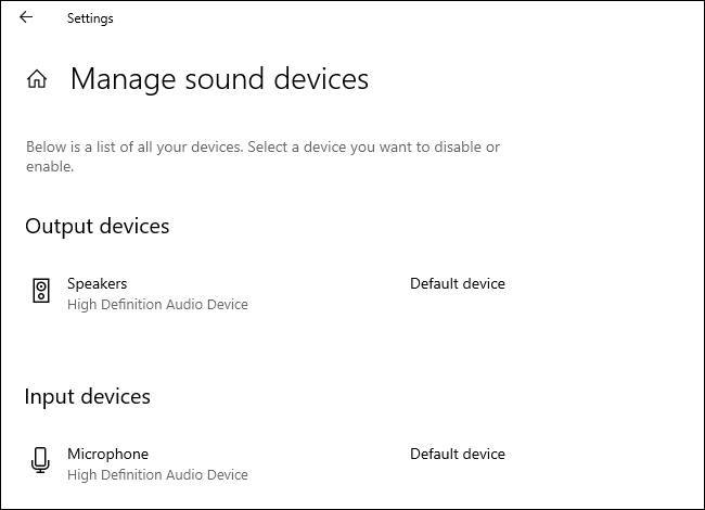 Gérer les périphériques audio par défaut dans l'application Paramètres de Windows 10.