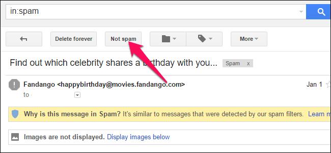 """Cliquez sur """"Pas de spam"""" en haut de l"""