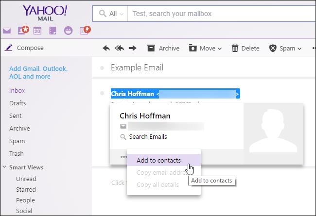 """Passez la souris sur un expéditeur et cliquez sur """"Ajouter aux contacts"""" dans Yahoo!  Courrier."""