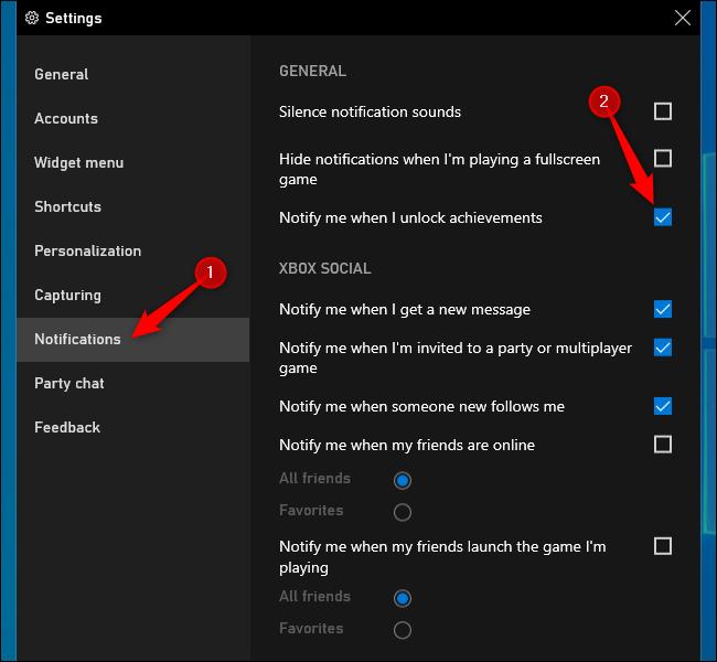 Désactivation des notifications de réussite Xbox sur Windows 10.