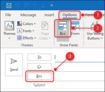 """Outlook """"BCC"""" bouton à bascule."""