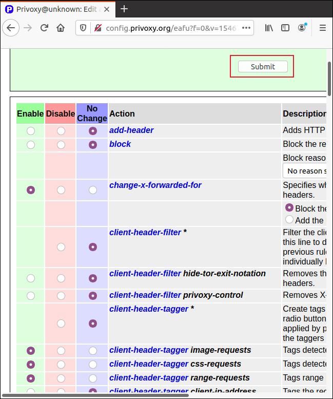 La page des paramètres granulaires Privoxy dans Firefox.