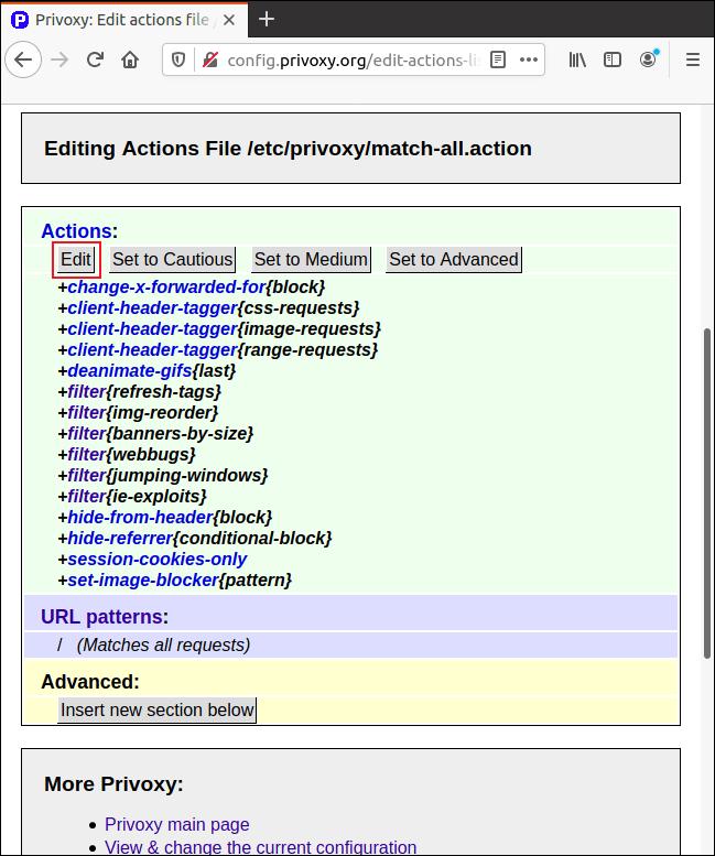 """Cliquez sur """"Modifier"""" dans la page """"Match-All.Action"""" dans Firefox pour ajuster les paramètres."""