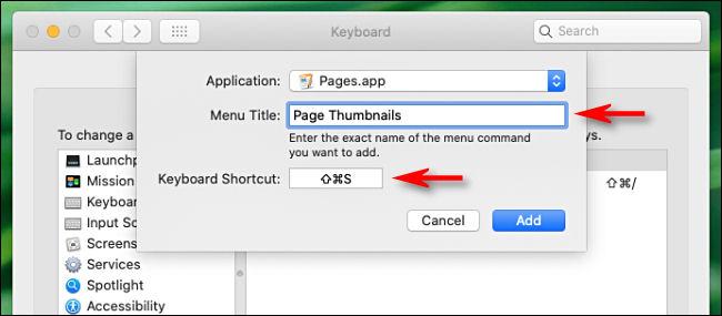 """Tapez le nom de la commande de menu dans la zone """"Titre du menu"""" et le raccourci que vous souhaitez utiliser dans la zone """"Raccourci clavier""""."""