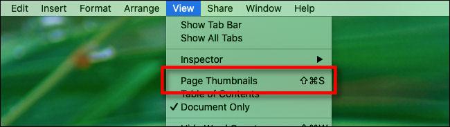 """Un raccourci clavier à côté de """"Vignettes de page"""" dans le menu """"Affichage"""" de """"Pages""""."""