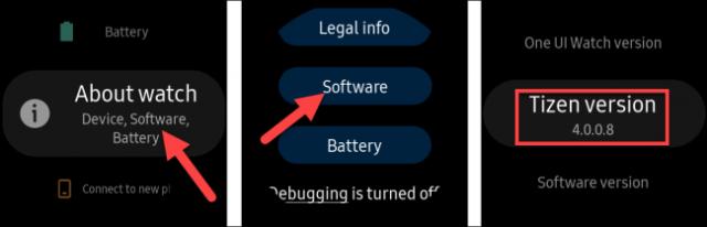 Sélectionnez «Paramètres», «À propos de la montre», «Logiciel», puis sélectionnez «Version Tizen».