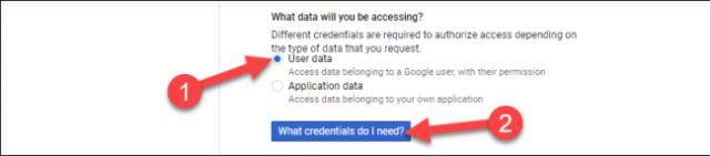 Sélectionnez «Données utilisateur», puis cliquez sur «De quelles informations d'identification ai-je besoin?»