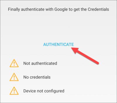 Sélectionnez «Authentifier».