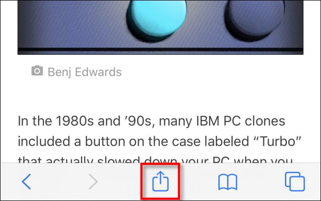 Appuyez sur le bouton Partager dans Safari sur iPhone