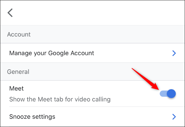 Habilite la pestaña Meet para videollamadas en Gmail en iPhone.