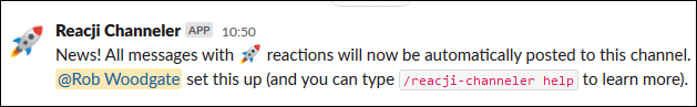 El mensaje que se muestra en el canal al que se enviarán los mensajes.