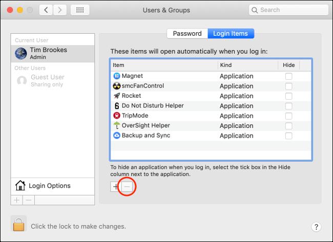 Cliquez sur le signe moins pour supprimer des applications sous l