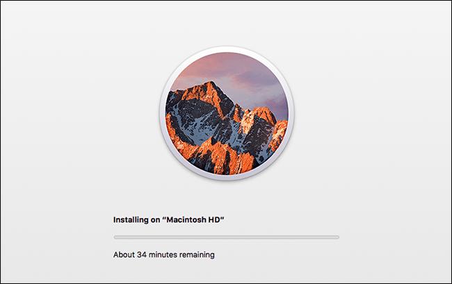 Une barre de progression de l'installation de macOS.