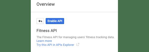 Activer le bouton API pour l'API Fitness